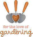 For the love of gardening three small garden spades with a heart shaped scoop soil as an icon to symbolise a Stock Photography