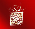 Love gift box with hearts inside Stock Image