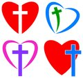 Love of god. christian cross and heart