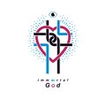 Love of God conceptual symbol combined with Christian Cross