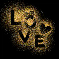 LOVE, gold letters. Elegant vector background illustration with golden glitter texture.
