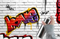 Love graffiti on brick wall Stock Image