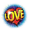 Love graphic starburst explosion icon Stock Images