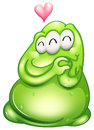 An in love greenslime monster illustration of on a white background Stock Images
