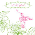 Love Greeting Card with Bird and Flowers. Royalty Free Stock Photo