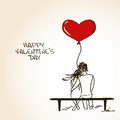 Love greeting card with embracing couple sitting on a bench and holding heart air balloon Stock Images