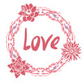 Love greeting card with floral round frame and Royalty Free Stock Photo