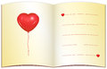 Love greeting card with place for text open note ochre paper red heart balloon lines copy space custom Stock Photos