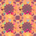 Love Hand Signed Seamless festive pattern design colorful flower Royalty Free Stock Photo