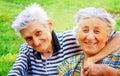 Love: happy joyful senior couple outdoor Royalty Free Stock Photo