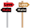 Love and hate illustration of a conceptual signboard about eps vector Royalty Free Stock Photography