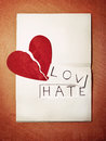 Love and hate in a notebook Royalty Free Stock Image