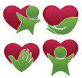 Love health, hearts, people and medicine symbols and icons