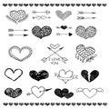 Love heart and arrow vector sketch set Royalty Free Stock Photo