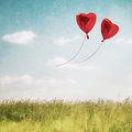 Heart balloon in  blue sky Royalty Free Stock Photo