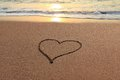 Love Heart on the beach Royalty Free Stock Images