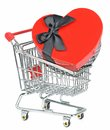 Love Heart Box in Shopping Cart Royalty Free Stock Images
