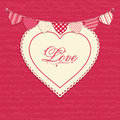 Love heart and bunting background Royalty Free Stock Images