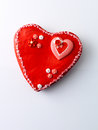 Love heart cake against white background Royalty Free Stock Photography