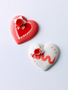 Love heart cake against white background Royalty Free Stock Image