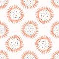 Love heart confetti polka dot sun. Seamless vector pattern