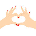 Love heart hand sign illustration of female hands making isolated on white background from back view Stock Photo