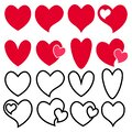 Love heart icon. Loving hearts, red like and lovely romance outline symbols. Valentine lovely passion hearted emotional drawn or