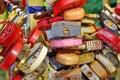 Love Heart Locks. Many Colorful Padlocks Tree Background Royalty Free Stock Photo
