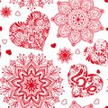 Love heart and mandalas seamless pattern in white and red colors Royalty Free Stock Photo