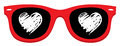 Love heart in red sunglass on white Stock Image