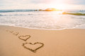 Love heart romantic beach Royalty Free Stock Photo