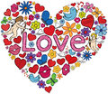 Love heart shaped illustration made with several related doodles Stock Image