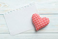 Love heart and sheet of blank paper Royalty Free Stock Photo