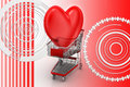 Love heart in a shopping cart trolley Stock Images