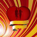 Love heart with silhouette and banner background Royalty Free Stock Photo