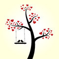 Love heart tree birds Royalty Free Stock Images