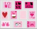 Love Heart Valentine Stamps