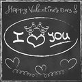 Love heart valentines day greeting card hand drawn on black chalkboard trendy style romantic relationship concept in vector Royalty Free Stock Image