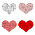 Love heart word clouds four different colored hearts with using the in various fonts use together or individually use as brushes Royalty Free Stock Photography