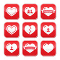 Love hearts buttons set for Valentines Day Stock Images