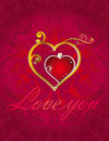 Love hearts card on red ornamental background Stock Photography