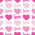 Love & Hearts Scribbles Seamless Tile Royalty Free Stock Images