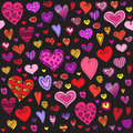 Love hearts seamless pattern. Doodle heart. Romantic background. Vector illustration Royalty Free Stock Photo