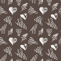 Love hearts sketch hand drawn seamless pattern vector illustration Stock Photos