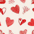 Love hearts sketch hand drawn seamless pattern vector illustration Royalty Free Stock Photos