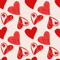 Love hearts sketch hand drawn seamless pattern vector illustration Royalty Free Stock Images