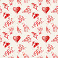 Love hearts sketch hand drawn seamless pattern vector illustration Royalty Free Stock Image