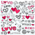 Love Hearts Valentine's Day Doodles Stock Images