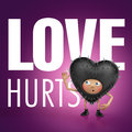 Love hurts. Funny heart cartoon Stock Photos