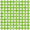 100 love icons hexagon green